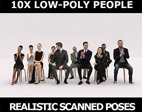 10x LOW POLY ELEGANT CASUAL PEOPLE AUDIENCE 3D model 1