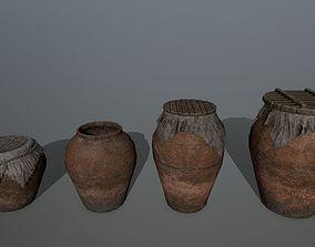 3D asset old vase set