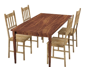 Table and chairs 3D model low-poly