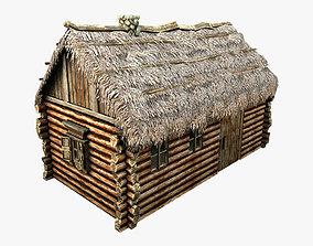 3D asset Wooden Thatch House