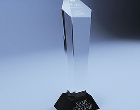plaque Trophy award cup low poly 3D model realtime