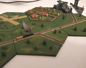 Hex railroad right and right 3D print model