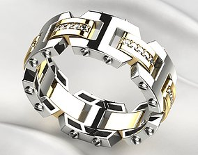 Rockford Style Mens Ring 3D print model