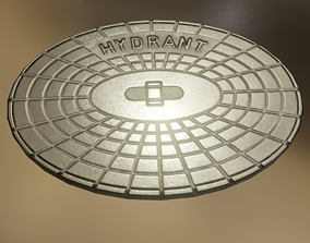 3D asset Sewer Cover 2 Hydranten Low-Poly