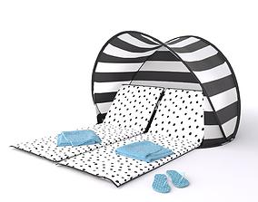 3D Sea Breeze Beach Lounger and Sun Shade Tent
