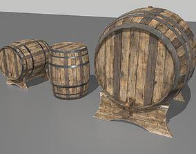 Old Wooden Barrels 3 3D asset