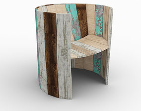 Chair recycled aged wood 3D model