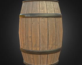 Wooden Barrel wine 3D model