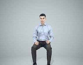 Sitting Business Man Wearing Blue Shirt 3D model