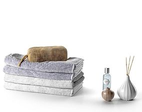 Stack of Towels with Bag Perfume and Vase bath 3D