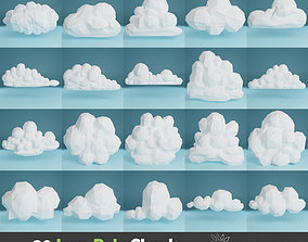 20 white clouds 3D model