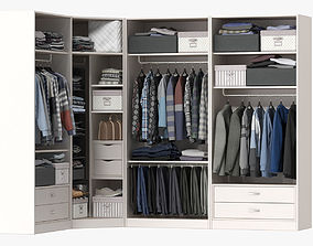 Wardrobe with Clothes apparel 3D