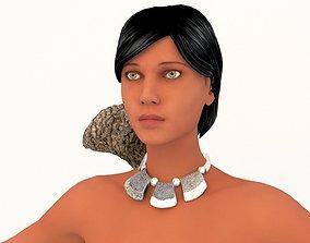 warrior indian girl 3D model rigged