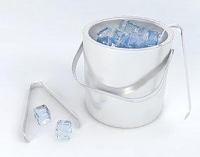 Pack of ice cubes ice bucket and tweezers 3D model