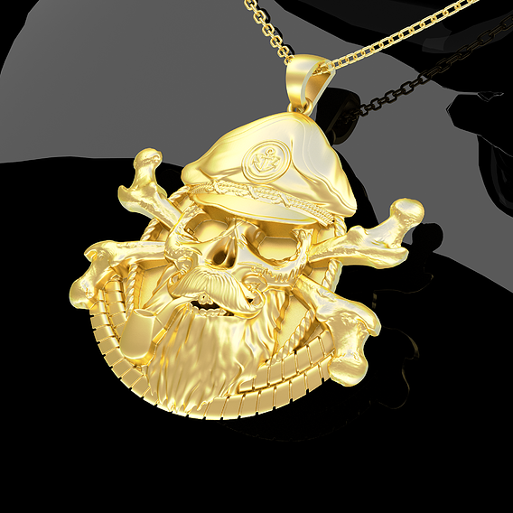 Skeleton Captain Pendant jewelry Gold 3D print model