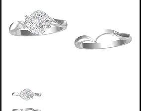Unique bridal set rings 3d jewelry cad