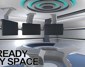 3D model VR Ready Play Space - Multi Screen Desk Room