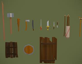3D asset Simple stylized low poly weapon set lvl 1