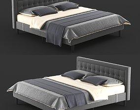 3D model Overstock Double Bed Gray PostureLoft Mornington