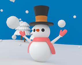 vocation Cartoon Snowman 3D asset