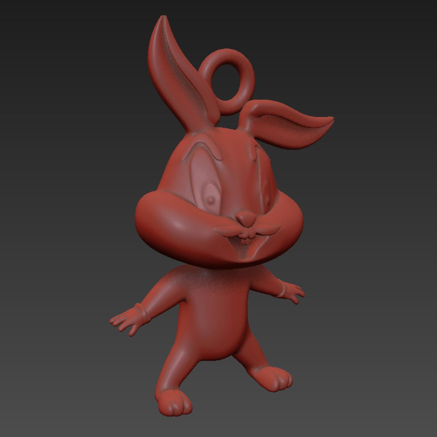 Baby Bugs Bunny Looney Tunes Cartoon pendant j jewelry gold 3D print model