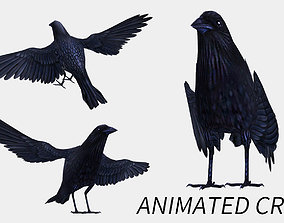animated low poly crow 3D model