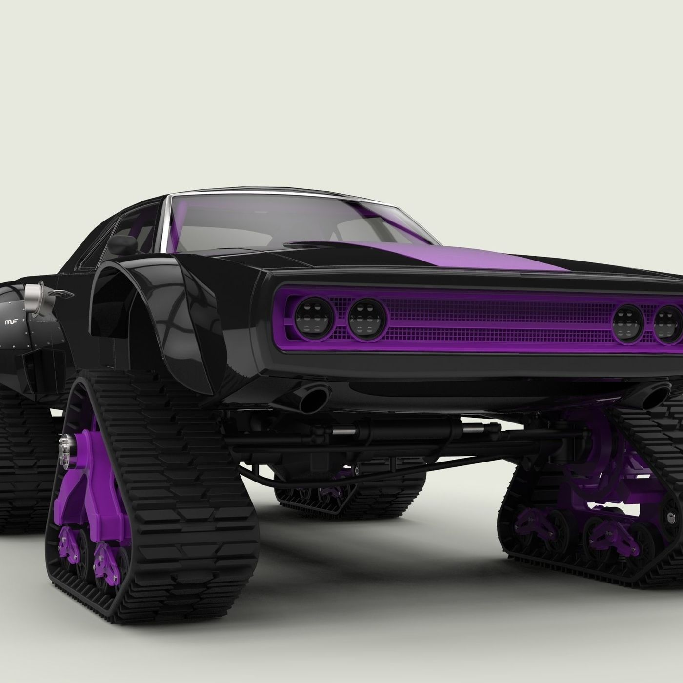 Dodge Charger with Mattracks Suspension tracks