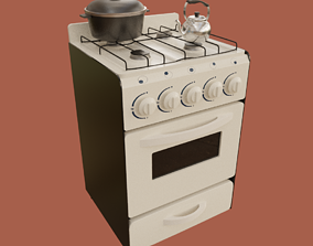 3D Gas Oven Stove with Rigged Door