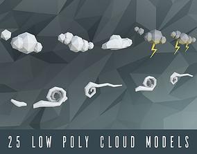 Low poly clouds 3D asset