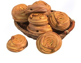 Basket with bread rolls 3D