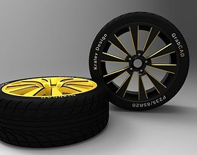 Alloy Wheel and Tire - Concept 3D