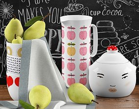 3D model Kitchen set with pears