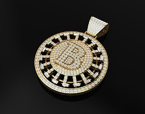 Bitcoin full diamond pendant turnable 3D printable model