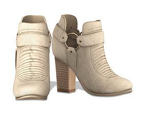 Faux Suede Cap Toe Ankle Boots 3D model