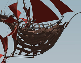 3D asset Flying Ship