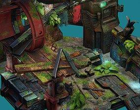 3D asset Low poly sci fi ruins environment set