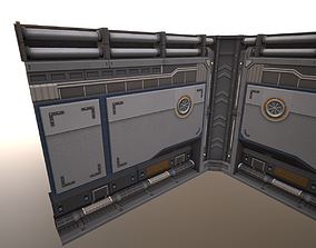 3D model game-ready Sci-Fi Wall