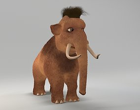 3D asset cartoon young mammoth
