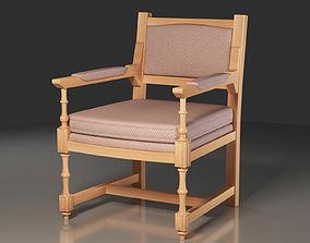 Hornbeam wooden Medieval Chair 3D