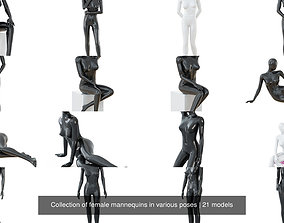 3D model Collection of female mannequins in various poses