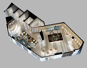 3D Detailed Office reception Interior Scene