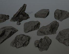 cliff rock set 2 3D asset