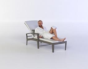 Kent 0235 Man in a bath robe resting 3D
