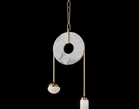 Meridian Brass Marble Handblown Glass 3D model 1