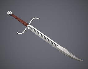 Falchion 3D model low-poly