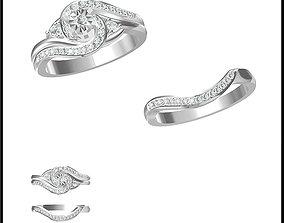 3D printable model Art deco bridal set ring jewelry cad