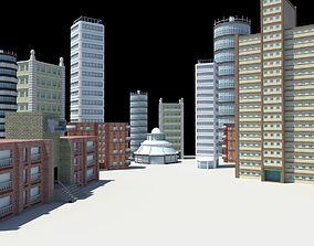 city buildings modern architecture 3D asset