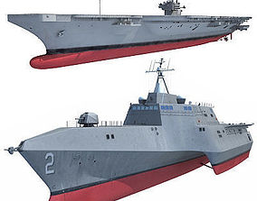Collection of 2 US Navy Ships 3D
