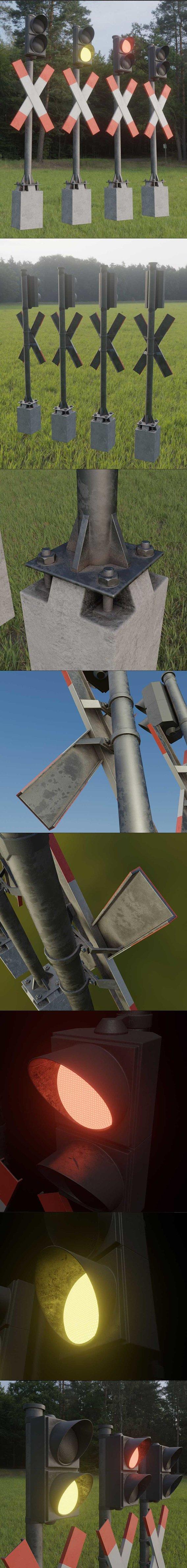 Low-Poly Andreaskreuze Version 3 with Traffic Lights (Blender-2.92 Eevee)