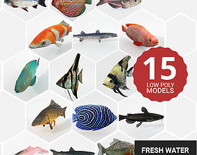 3D asset 15 Freshwater Fish Pack